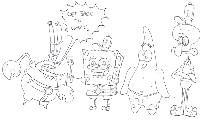 900x499 Spongebob Characters By Cartoonkal