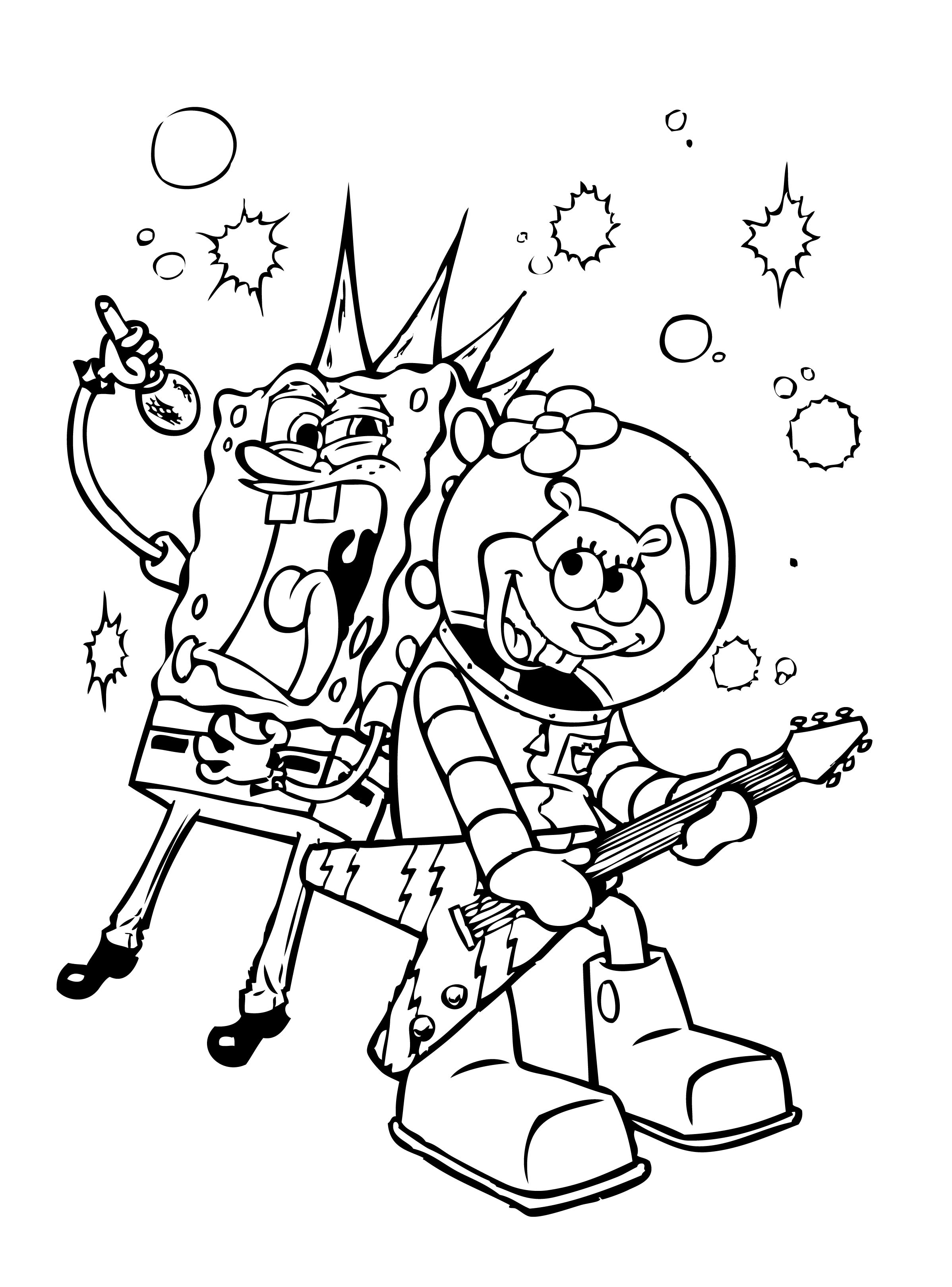 attractive coloring pages of spongebob and friends ideas entry