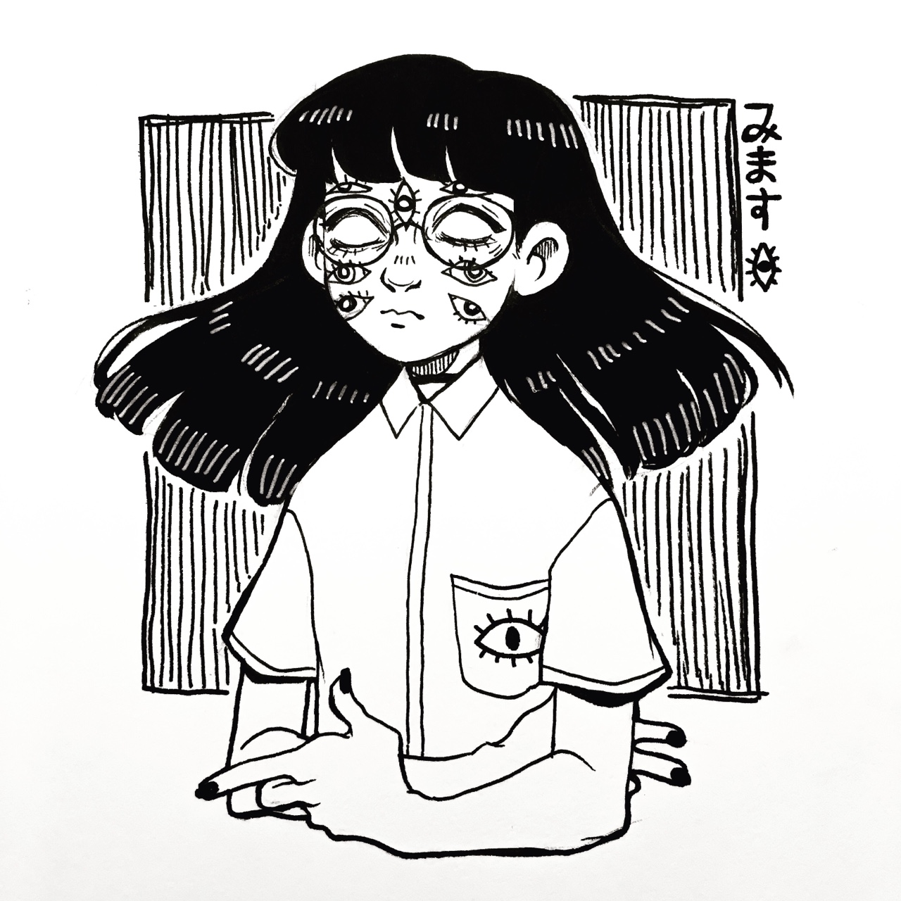 1280x1280 Inktober Day 1 A Spooky Self Portrait (Heavily Inspired By Yume