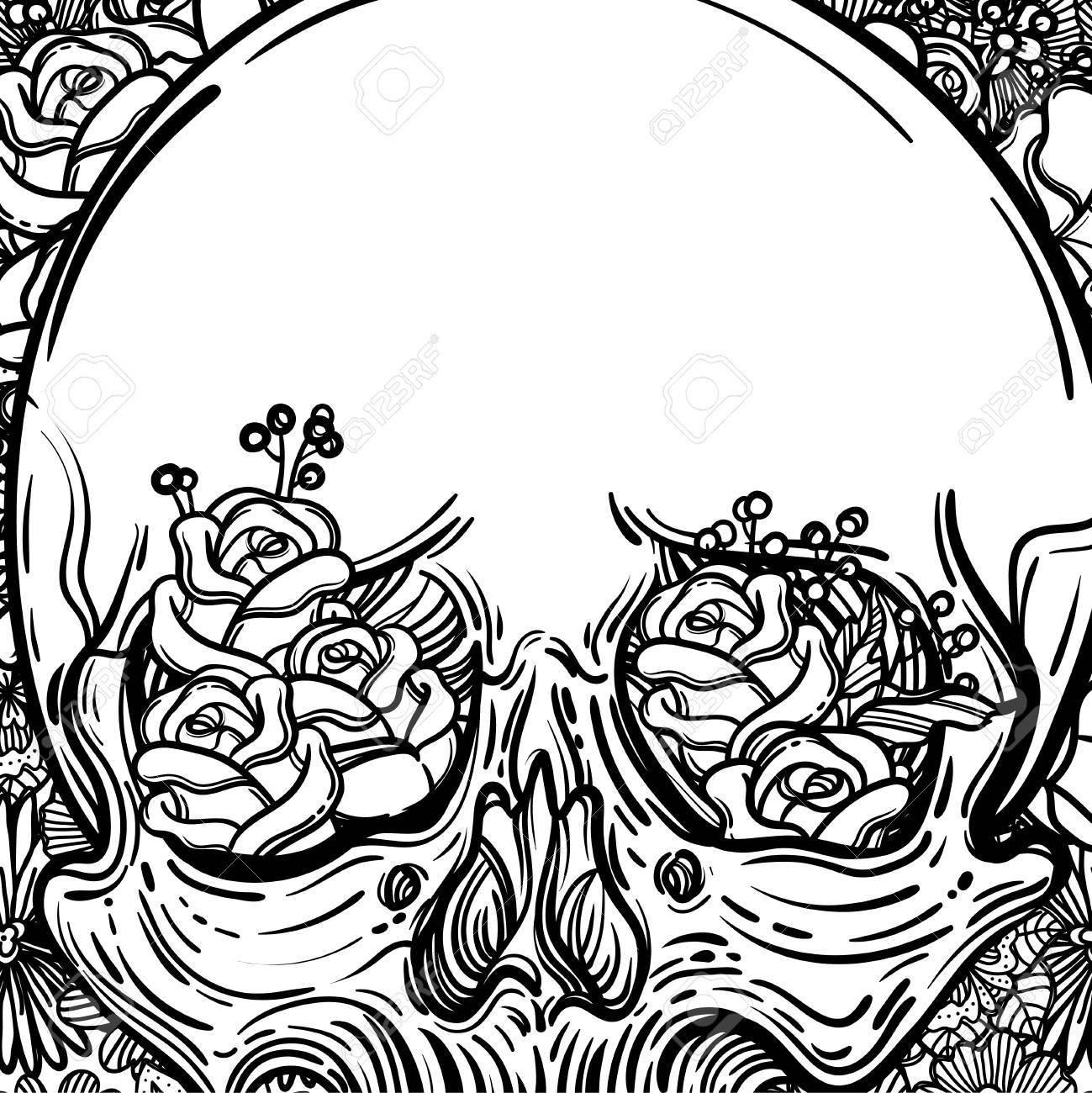 1299x1300 Line Art Illustration. Scary Skull And Flowers. Vintage Print
