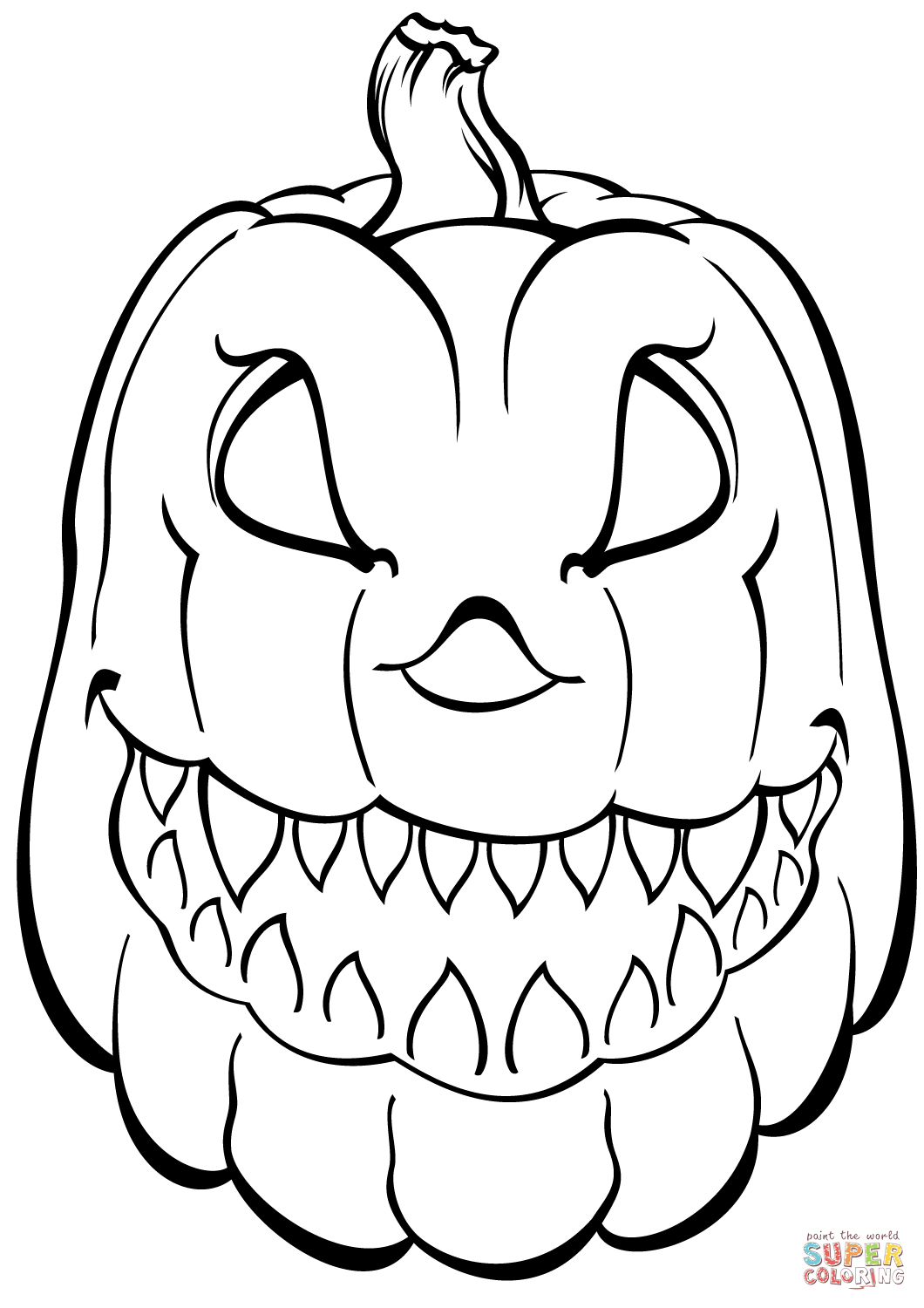 1060x1500 Scary Pumpkin Coloring Page Free Printable Coloring Pages