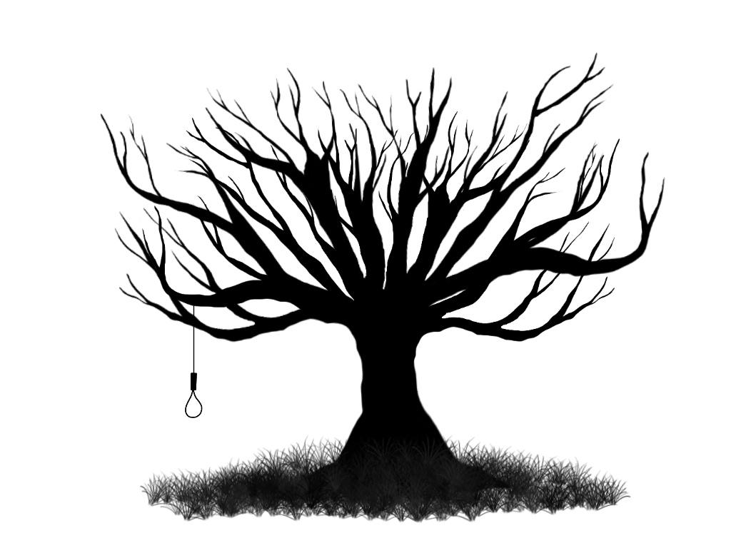 1024x768 Spooky Tree Drawing Creepy Clipart Dead Tree