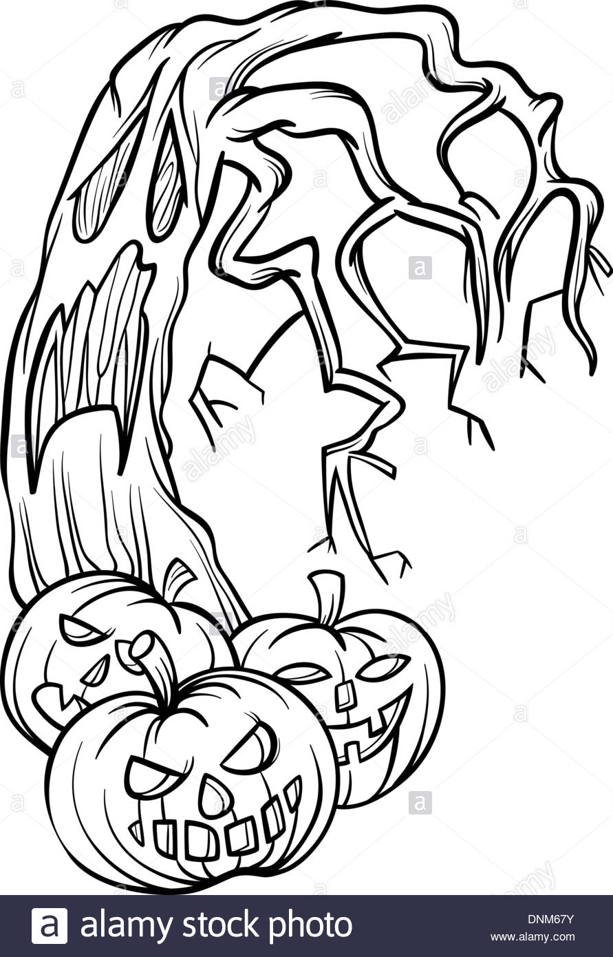 891x1390 Black And White Cartoon Illustration Of Halloween Pumpkins