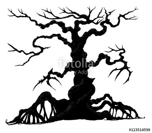 500x437 Spooky Silhouette Of Halloween Tree.halloween Tree By Hand Drawing