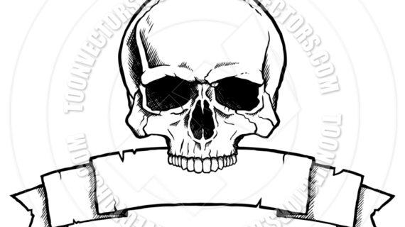 570x320 Cartoon Skull Drawings Cartoon Spooky Skull Drawing Stock Images