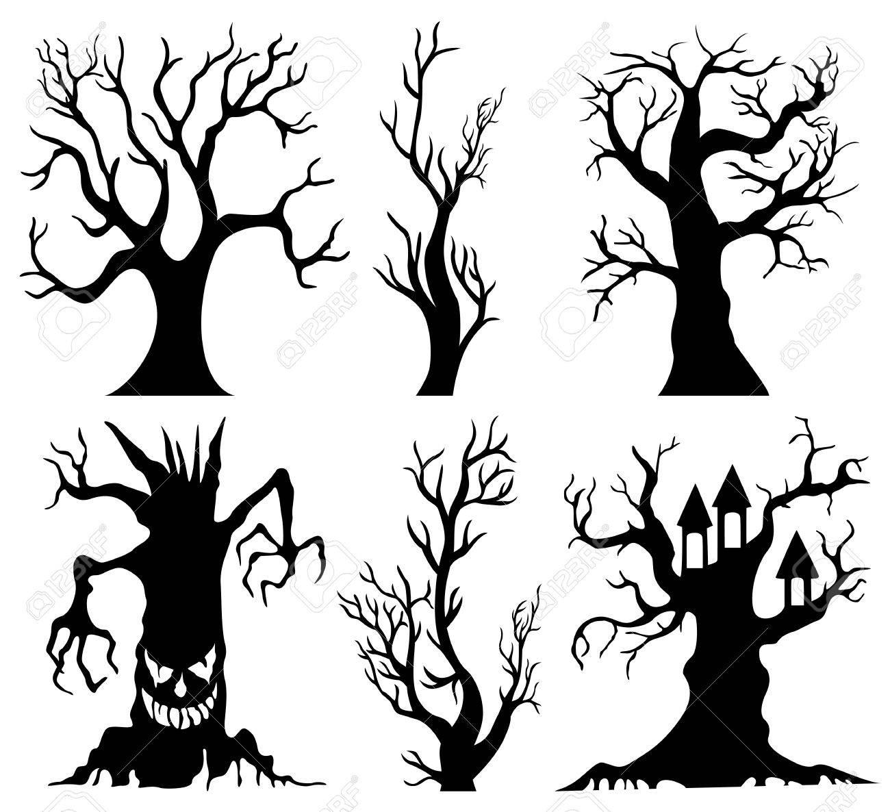 1300x1186 Set Of Spooky Halloween Tree Cartoon Stock Photo, Picture