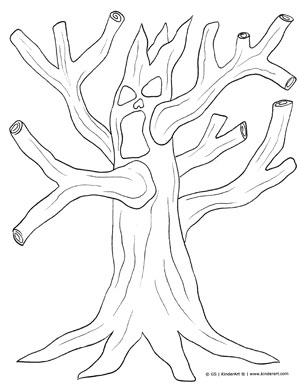 300x385 Spooky Tree Coloring Page Kinderart