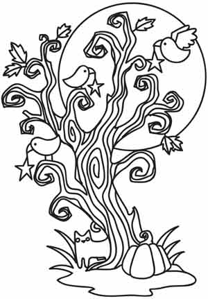 300x431 Coloring Page World Spooky Tree (Portrait)