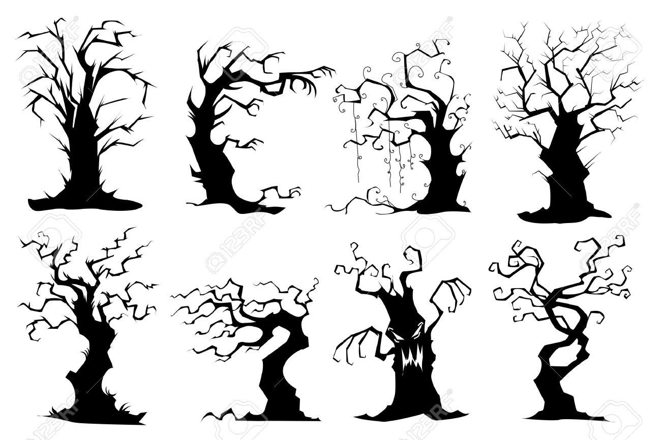 1300x866 Spooky Tree Drawing Creepy Clipart Haunted Tree