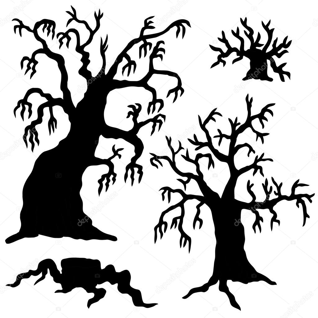 1024x1024 Spooky Trees Silhouette Collection Stock Vector Connynka