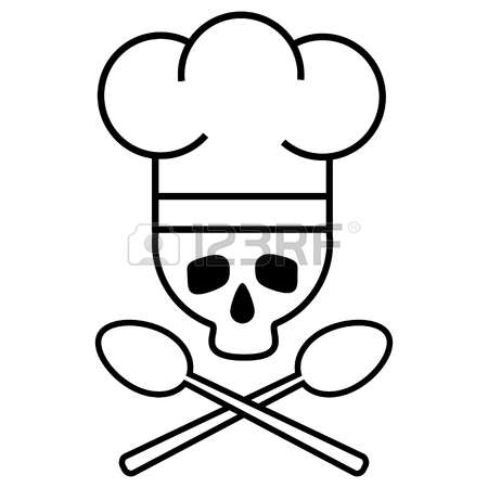 450x450 Skull Chef In Chef S Hat With Crossed Spoons. Logo, Icon. Black