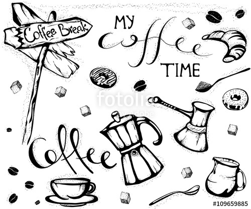 500x417 Hand Drawn Coffee Set. My Coffee Time Quote. Doodles Of Coffee Cup