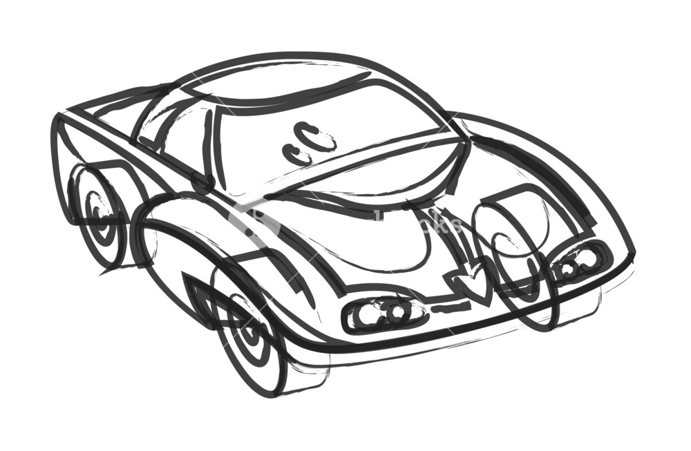 1000x653 Abstract Modern Sports Car Drawing Royalty Free Stock Image