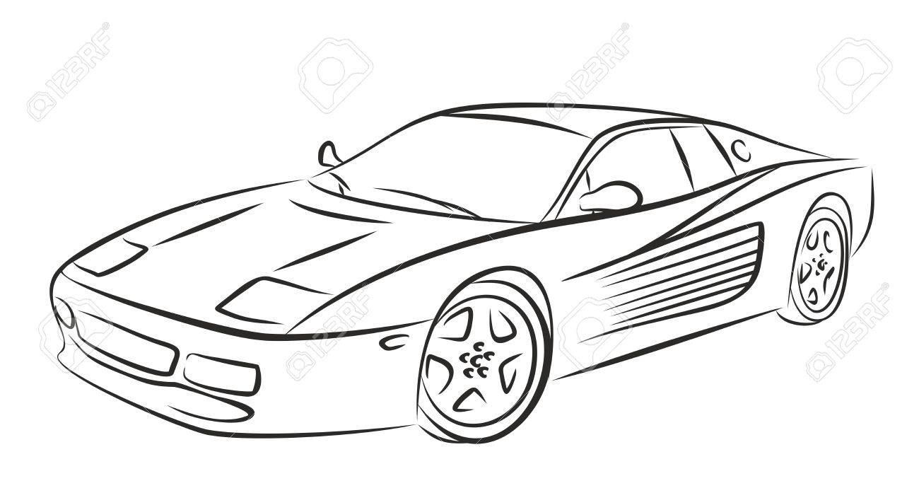 1300x697 Sketch Of The Powerful Sports Car. Stock Photo, Picture