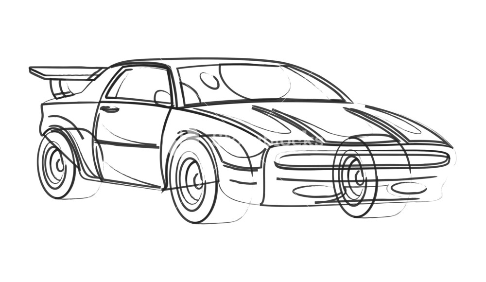 1000x580 Sports Car Model Drawing Royalty Free Stock Image