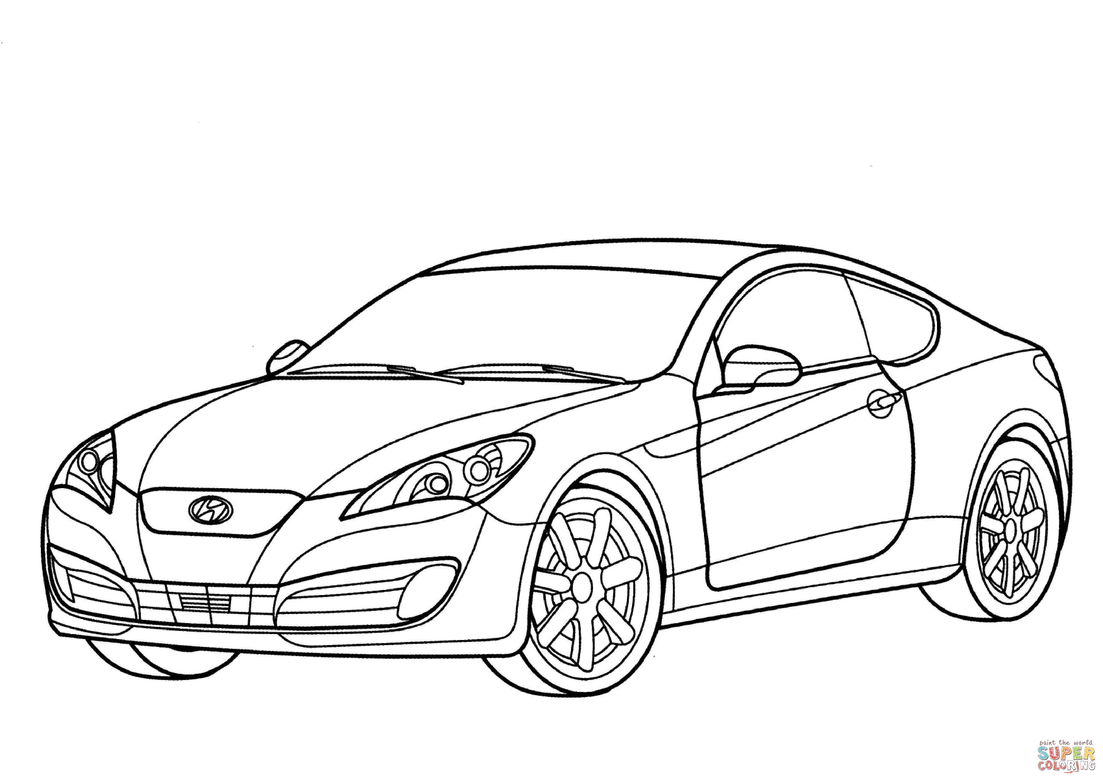 3508x2480 Hyundai Genesis Coupe Coloring Page Free Printable Coloring Pages