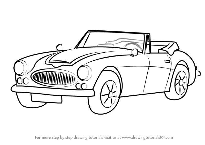 800x567 Learn How To Draw Austin Healey 3000 Mk Iii (Sports Cars) Step By