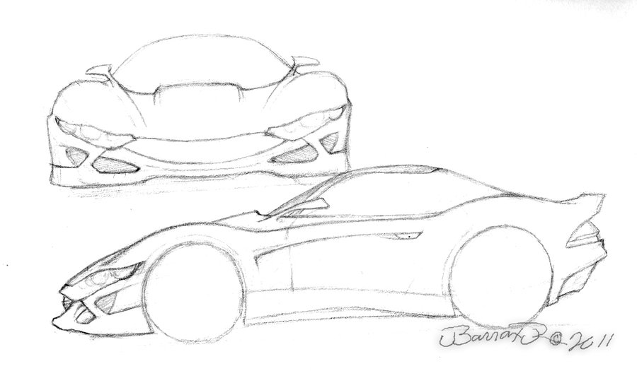 900x525 Unnamed Sports Car Concept Pencil Sketch By Jbarraxjr