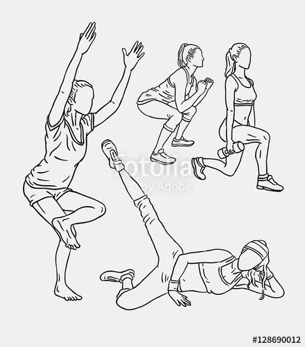 440x500 Fitness Training Sport Line Art Drawing Style. Good Use For Symbol