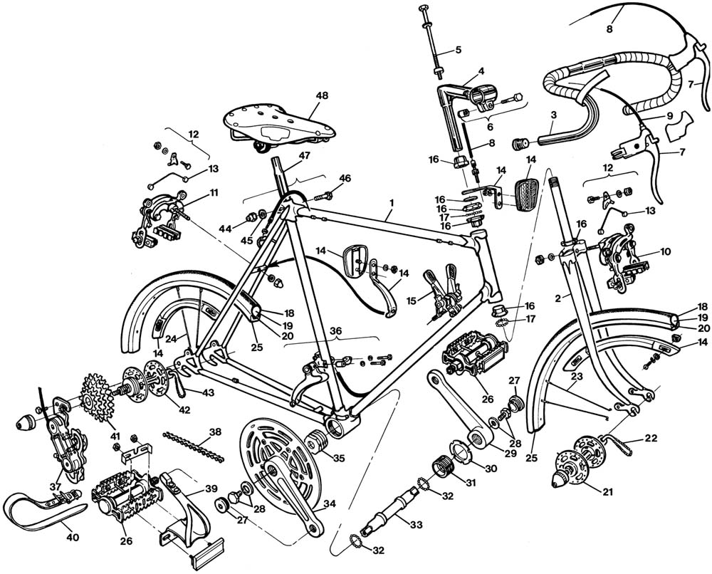1000x806 Raleigh Gran Sport Bicycle Exploded Drawing From 1977 Raleigh