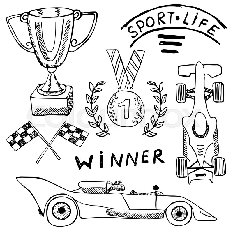 800x800 Sport Auto Items Doodles Elements. Hand Drawn Set With Flag Icon