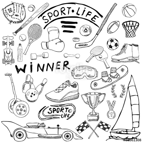 500x500 Sport Life Sketch Doodles Elements. Hand Drawn Set With Baseball