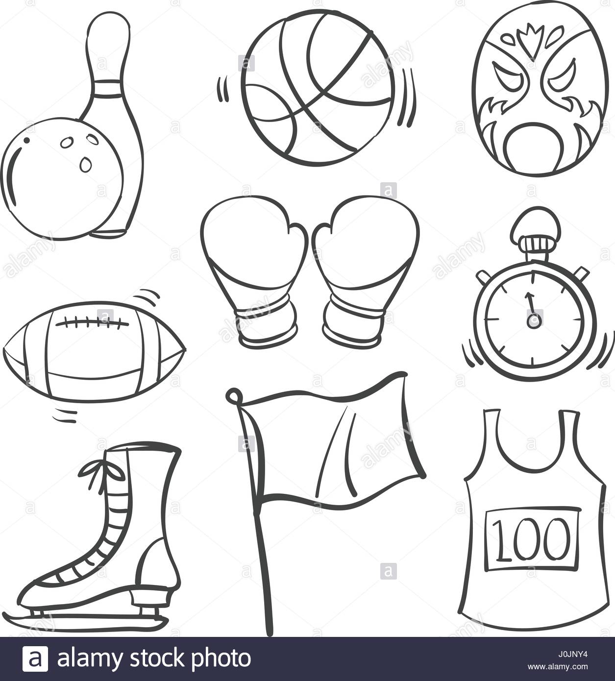 1255x1390 Collection Of Sport Equipment Hand Draw Vector Art Stock Vector