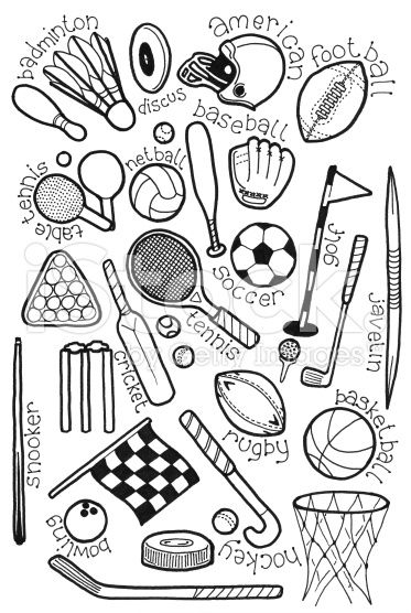 373x556 Hand Drawn Doodles On A Sports Theme Royalty Free Stock