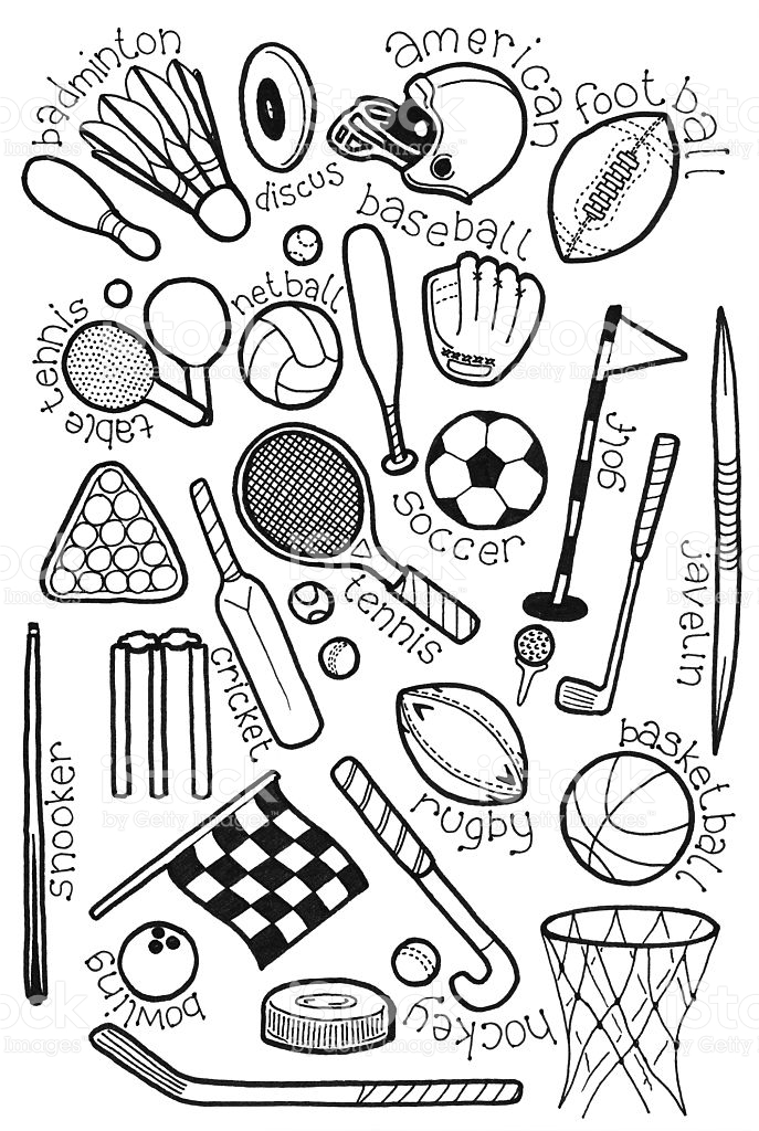 687x1024 Hand Drawn Doodles On A Sports Theme Vector Art, Doodles