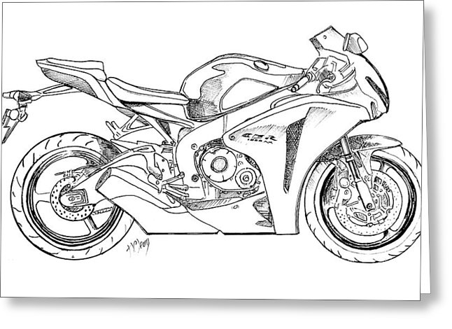 646x470 Honda 1000 Tt Motorcycle Drawing By Terence John Cleary
