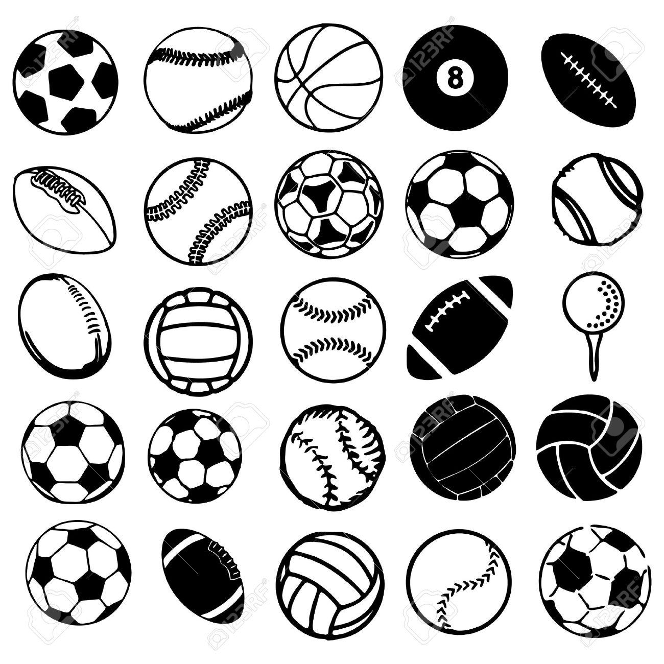 1300x1300 Set Ball Sports Icons Symbols Comic Vector Illustration Stock