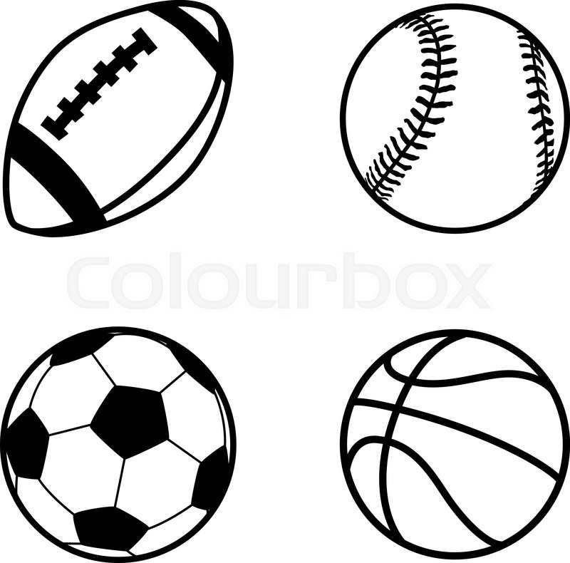 800x790 Set Of Four Simple Black Icons Of Balls For Rugby, Soccer