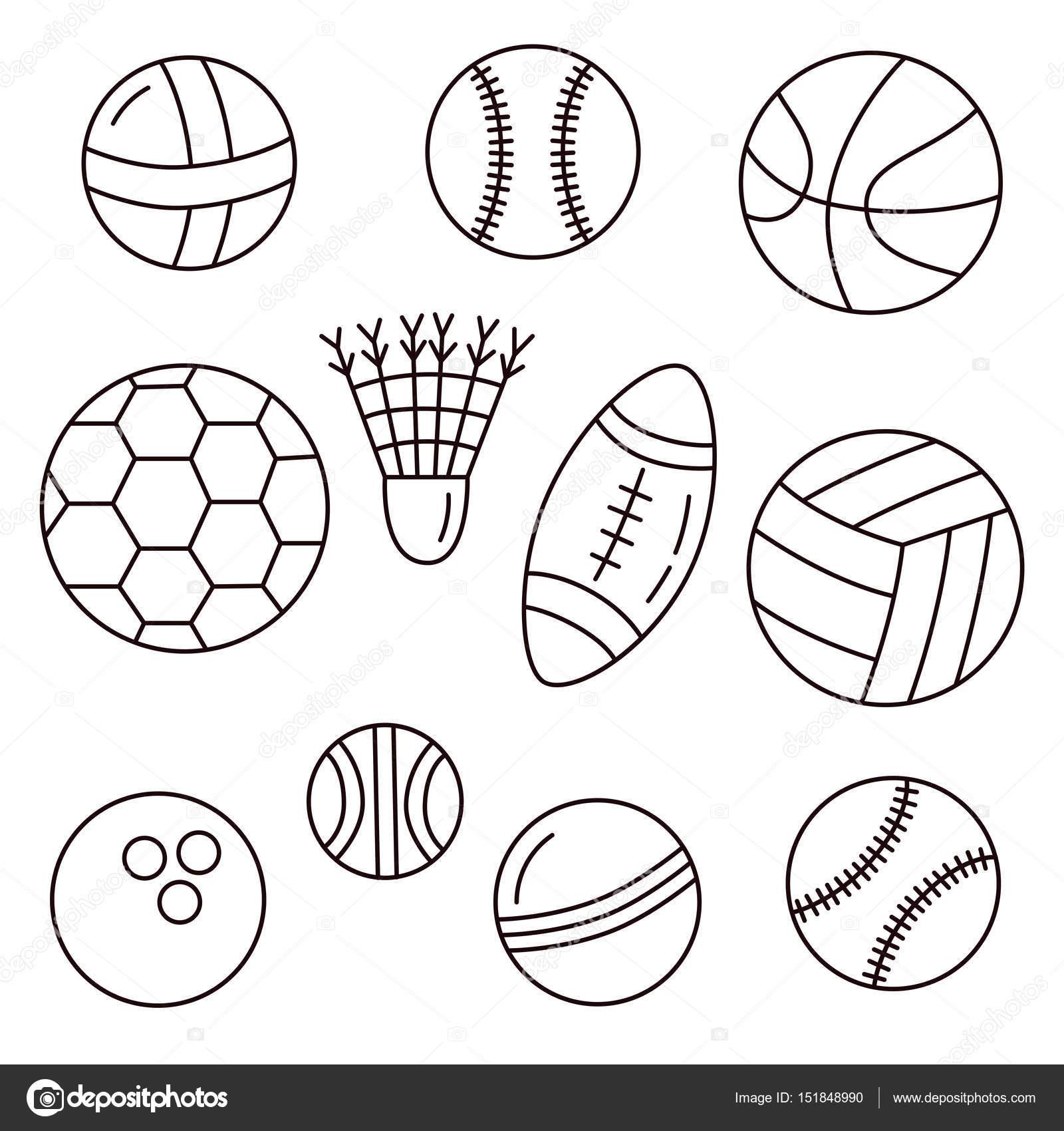 1600x1700 Black And White Sport Balls Stock Vector Olizabet