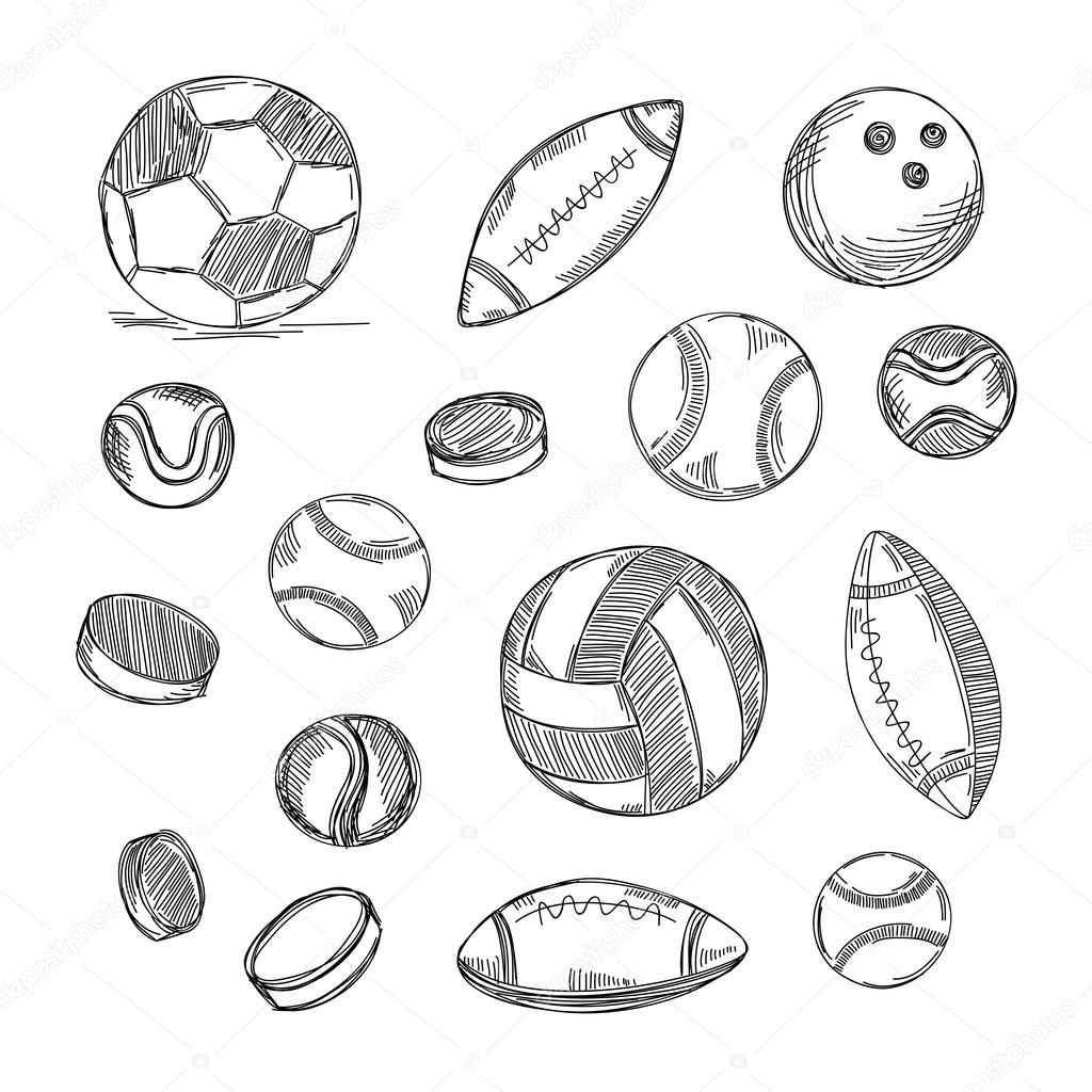 1024x1024 Different Types Of Balls Set. Sports Doodles Stock Vector Zon