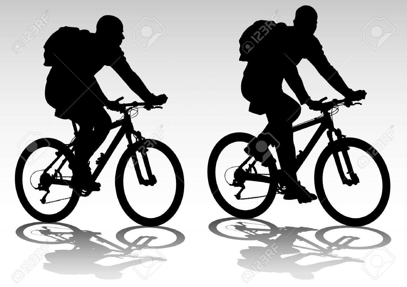 1300x918 Drawing Bicycle Races Leisure. Silhouette Of Sports People Royalty
