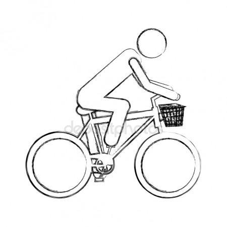 450x450 Monochrome Sketch Pictogram Of Man In Sport Bike With Basket