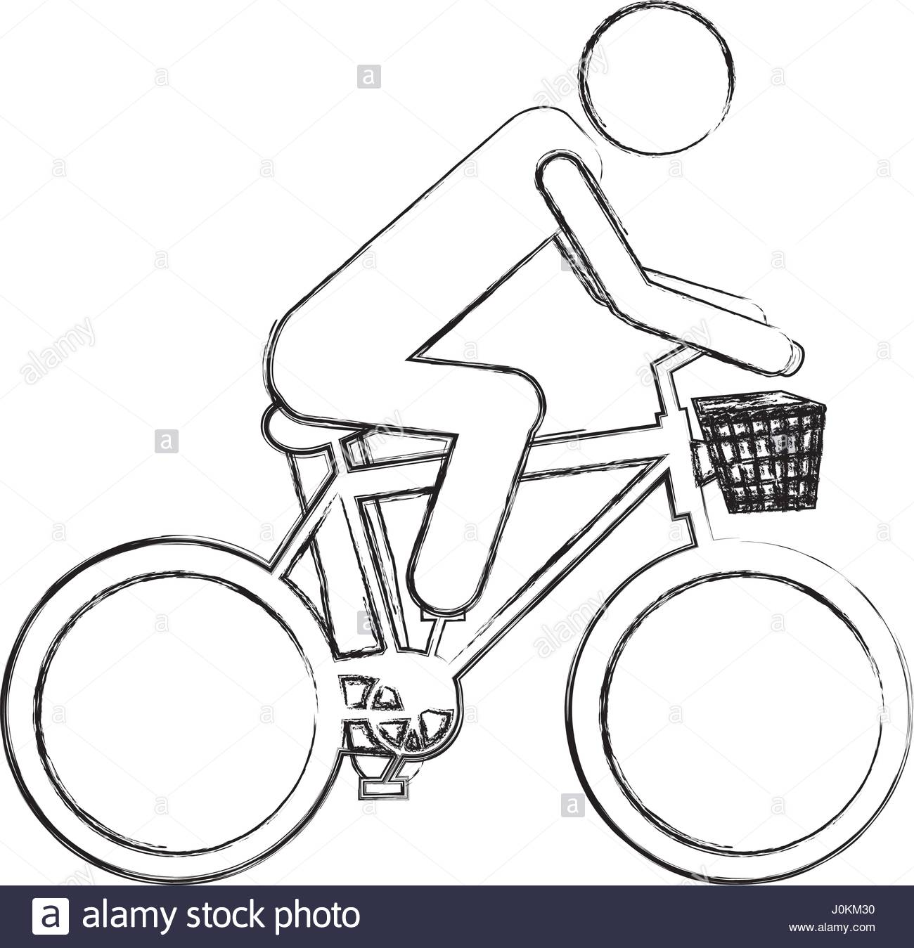 1300x1349 Monochrome Sketch Pictogram Of Man In Sport Bike With Basket Stock