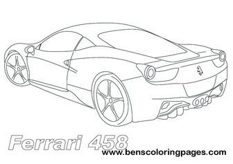 336x237 Ferrari 458 Sports Car Coloring Page