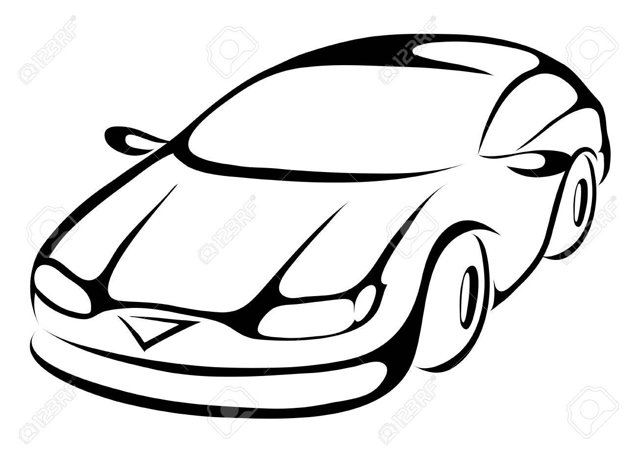1300x918 Stylized Cartoon Icon Of A Sports Car Stock Photo, Picture