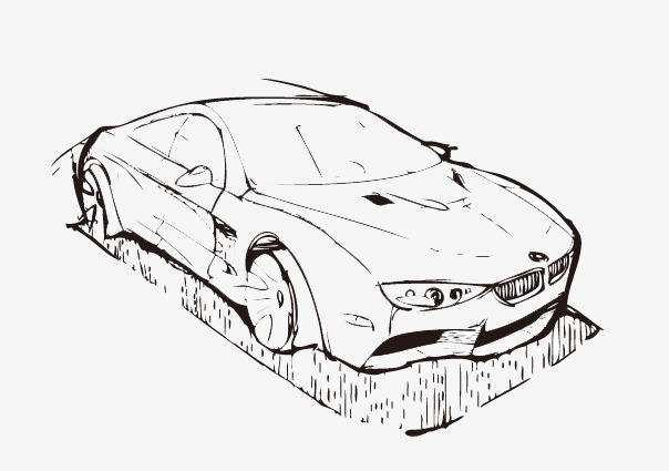604x425 Hand Painted Car Outline, Contour, Hand Painted Car Png Image