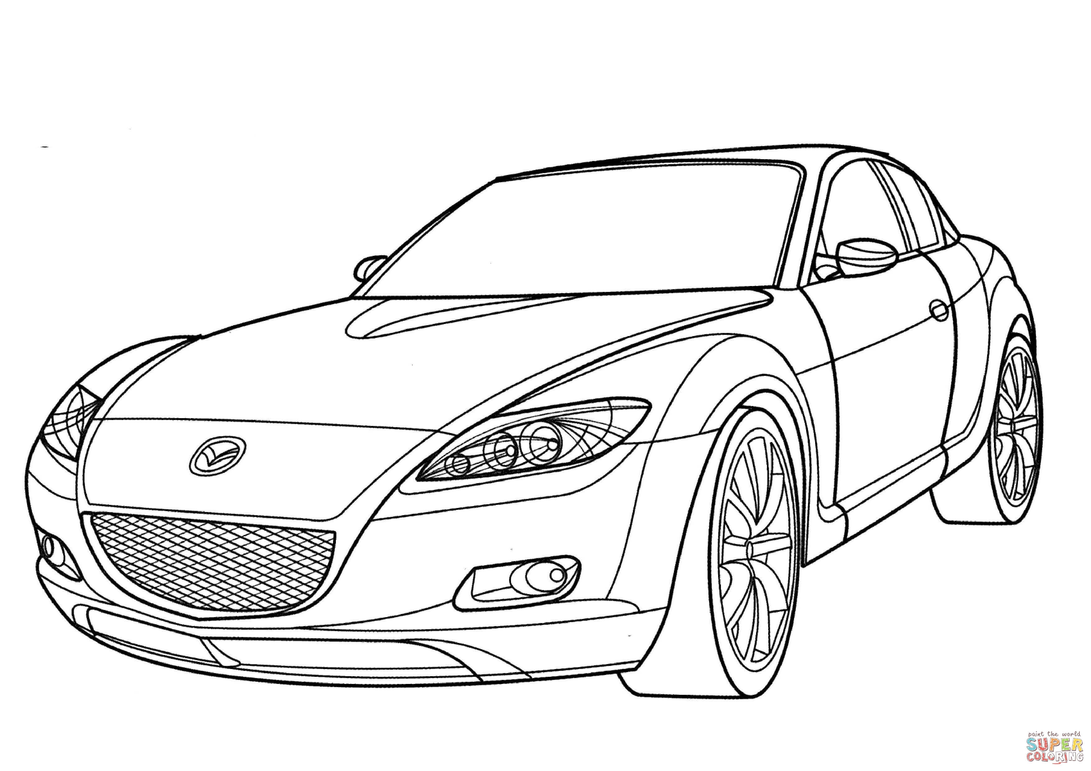 3508x2480 Mazda RX 8 Coloring Page Free Printable Pages