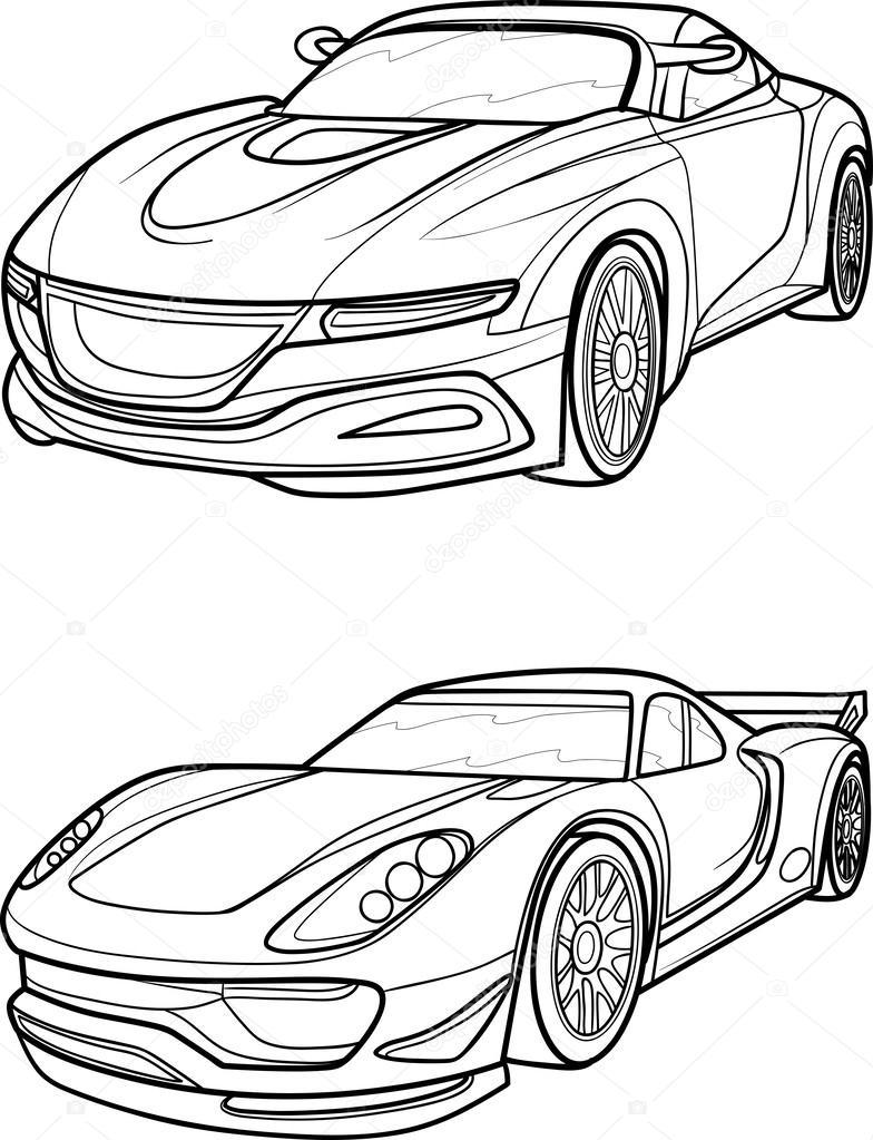 784x1023 Outline Drawing Car. Stock Vector Kopirin