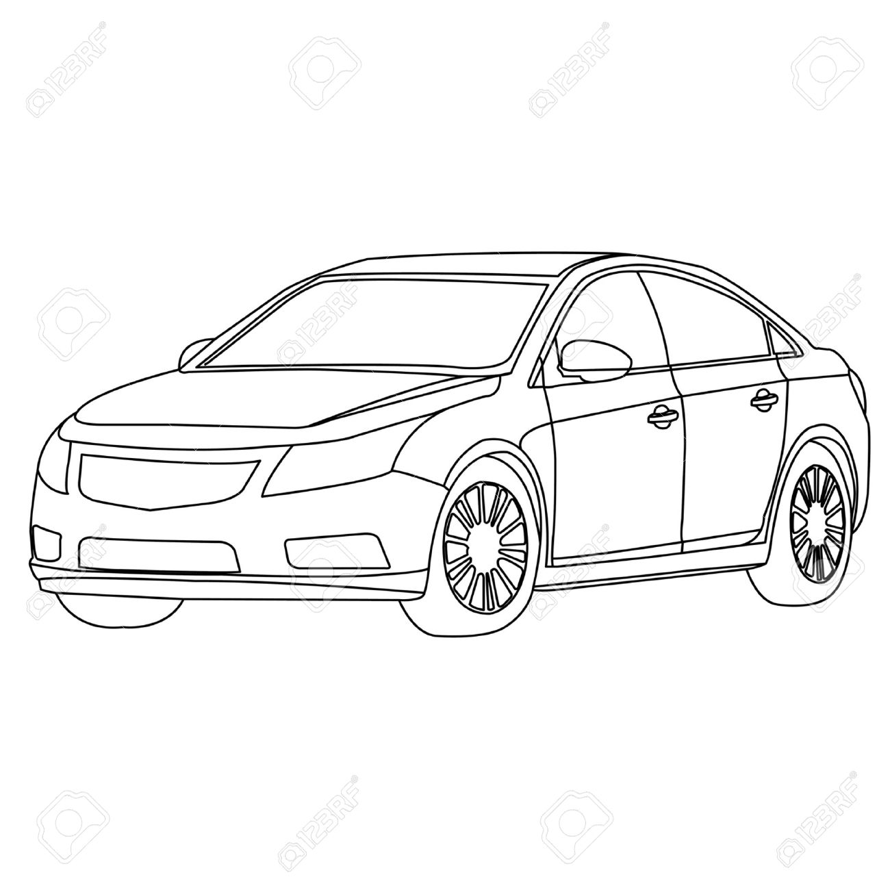 1300x1300 Car Outline Royalty Free Cliparts, Vectors, And Stock Illustration