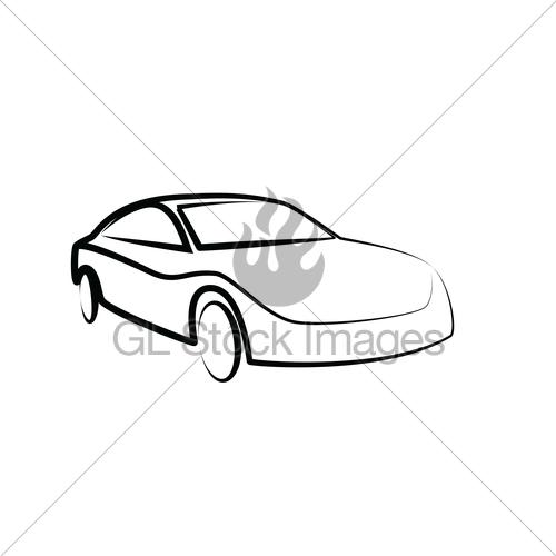 500x500 Sports Car Outlines. Modern Car Illustration. Car Vector Gl