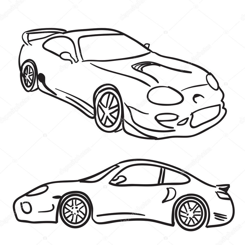 1024x1024 Sports Car Sketches Stock Vector Arenacreative