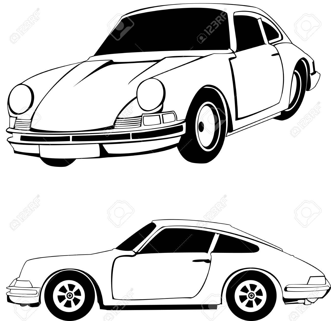 1300x1262 Vector Outline Of A Sport Car. See Portfolio For Different Colors
