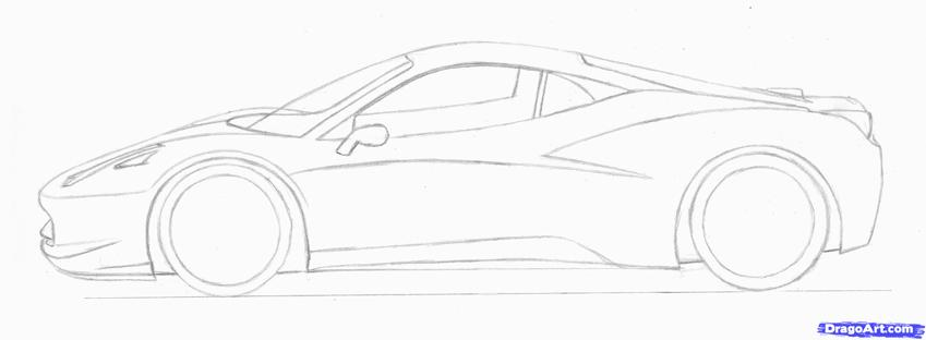 849x312 Car Drawings Outline