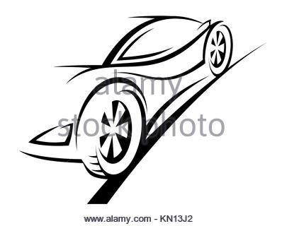398x320 Sports Car Silhouette. Race, Vehicle, Automobile Icon Or Logo