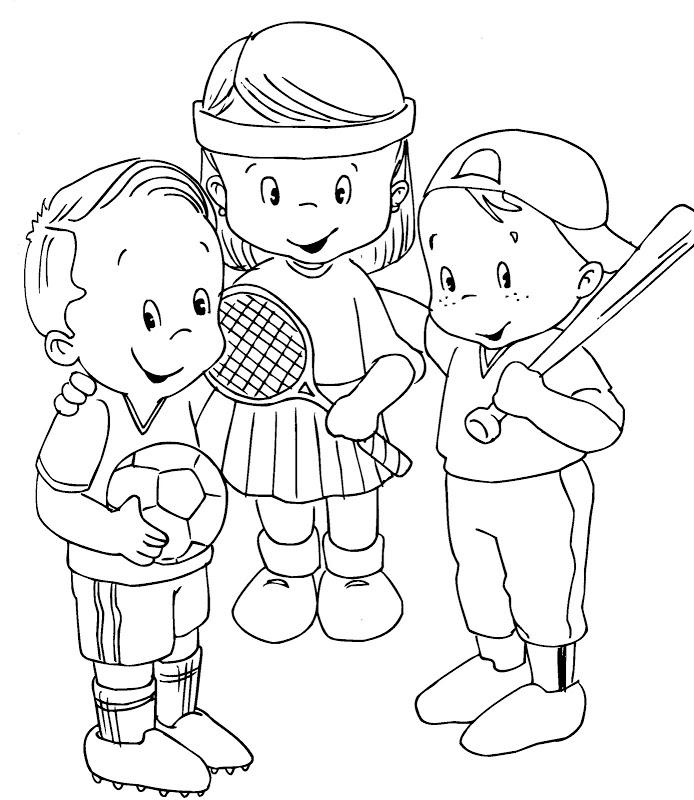 694x800 Sports Kids Having Fun Free Coloring Page Kids, Sports Coloring