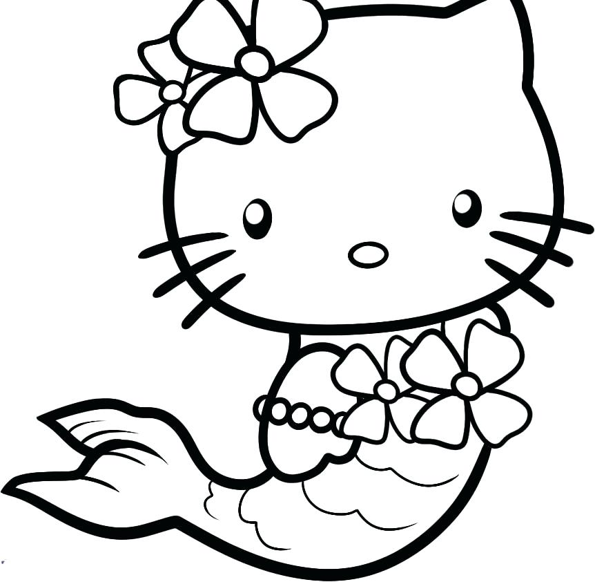 862x842 Mermaid Coloring Pages For Kids Awesome Hello Kitty